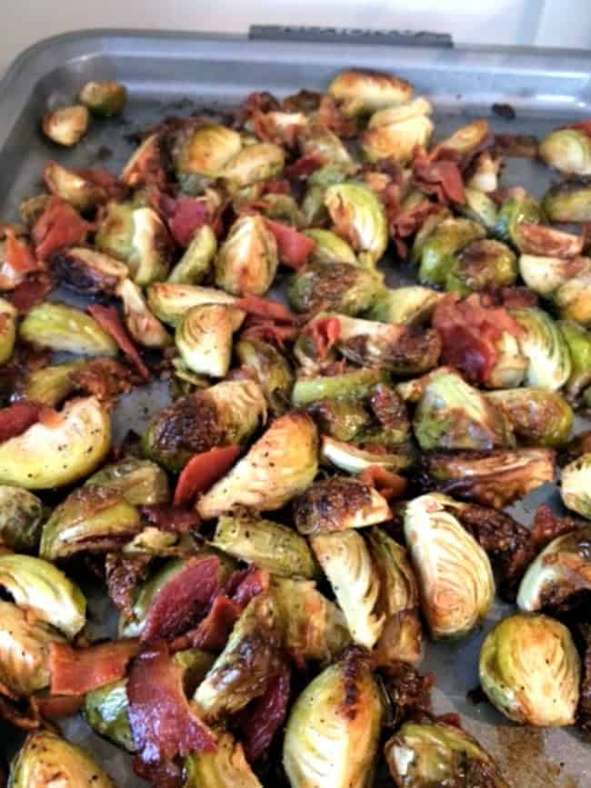 Easy Brussels Sprouts with Bacon recipe. So tasty and great as a side dish!