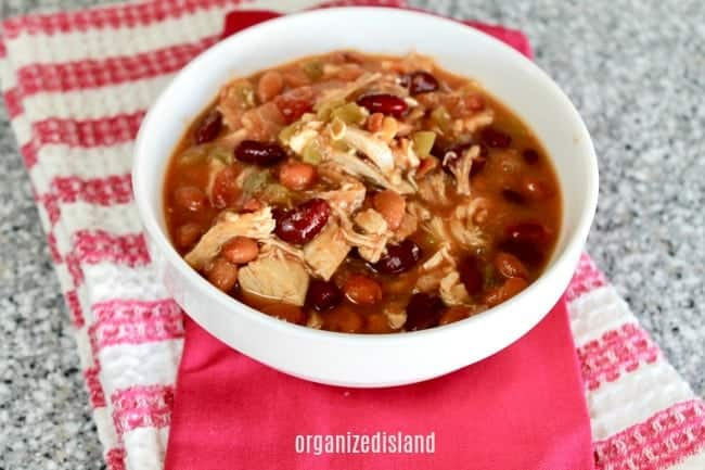 Chicken Chili with beans in bowl