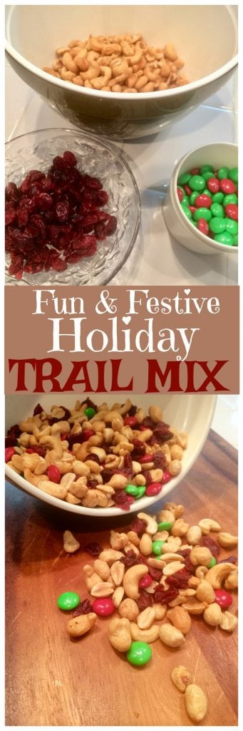 This fun and festive holiday trail mix makes a great inexpensive homemade holiday gift idea!