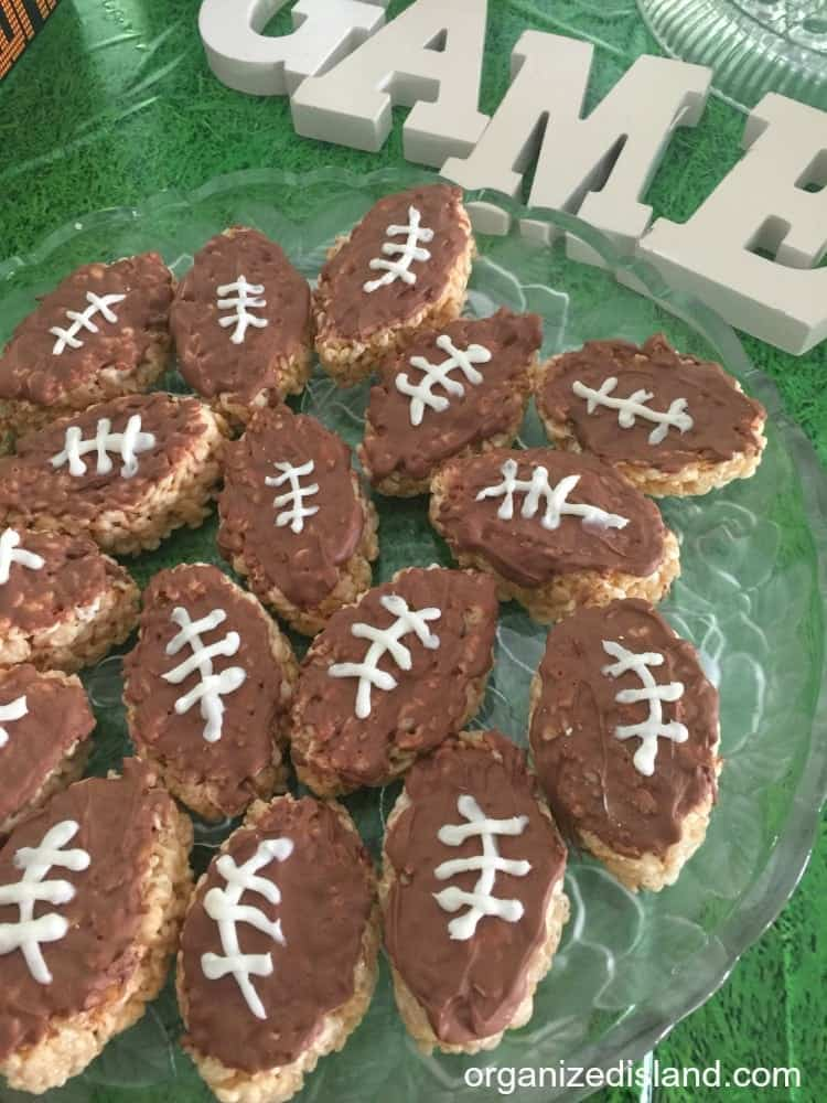 These football rice cereal snacks are perfect for a game day snack or tailgate party!