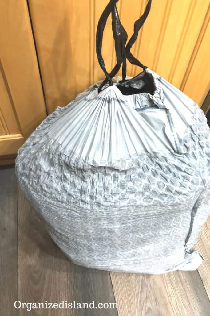 closet clean out trash bag