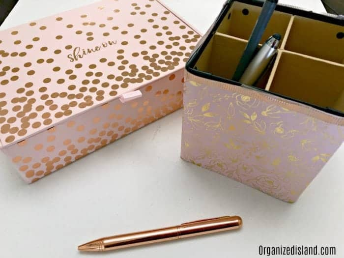 gold and pink office supplies