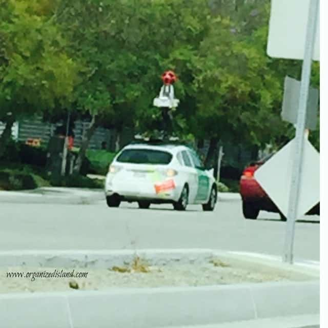 This is the Google Maps car taking photos in our city.