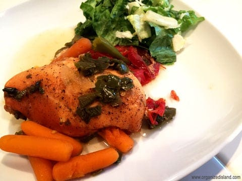 Crockpot chicken recipe with green chilis and vegetables.