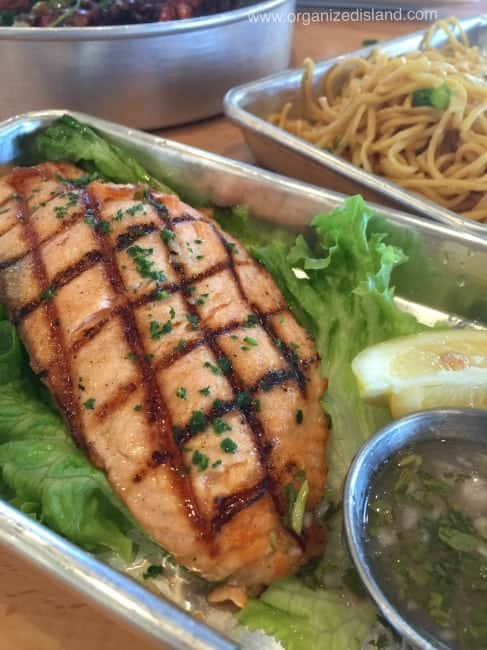 This grilled salmon at EMC Irvine is cooked to perfection!