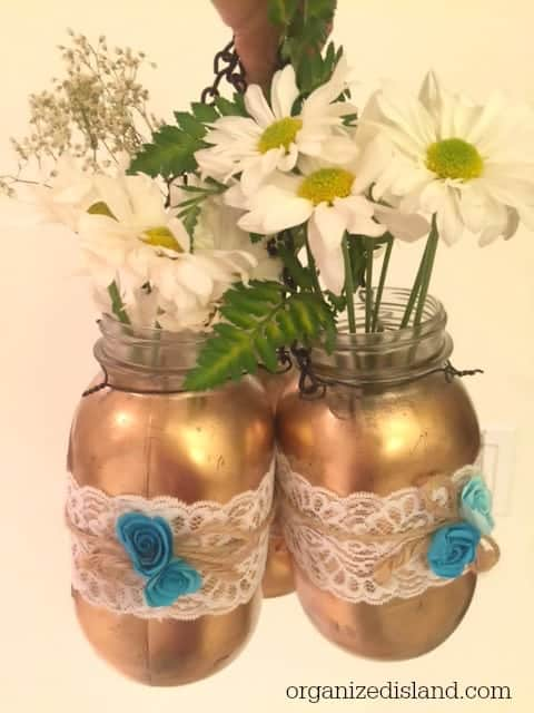 These hanging mason jars are so pretty for a bridal or baby shower or wedding! So easy to make too!