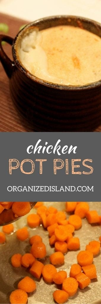 Looking for an easy recipe for chicken pot pies? This one is it and you can make individual servings which make it great when you cannot always eat together.
