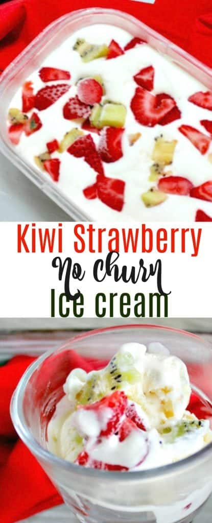 No Churn Strawberry Kiwi Ice Cream