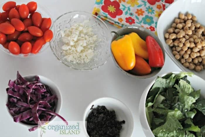 Easy mediterranean salad recipe - perfect as is or with protein for a delightful late summer meal!