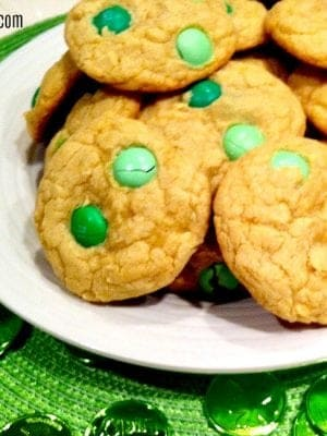 St. Patrick Day cookies made with mint chocolate candies.