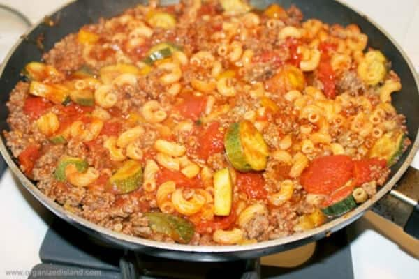 This simple and easy recipe for one pot beef pasta is tasty and hearty! My family loves it!