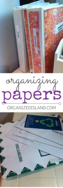 Tips on how to organize papers at home. Good tips for work too!