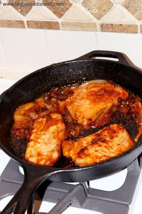 Brown sugar glazed skillet pork chops - a wonderful weeknight dinner idea!