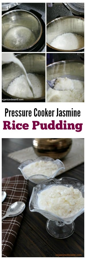 Jasmine Rice Pudding pressure cooker recipe that takes just minutes to make.