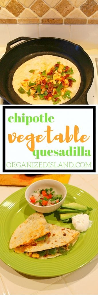 When you need a really quick dinner idea, this is it. Vegetable quesadillas in a mild chipotle sauce. Ready in minutes!