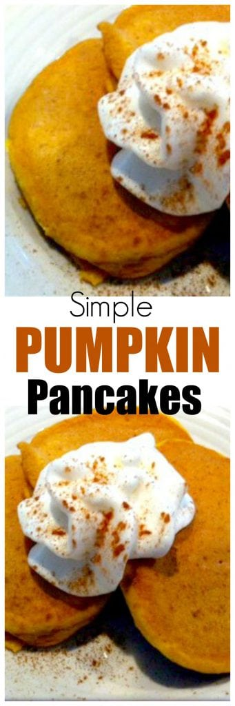 Want a quick recipe for simple pumpkin pancakes? This is so easy and can be made with a wheat-based or regular-based baking mix.