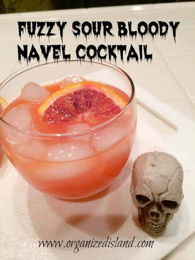 Fun Halloween cocktail idea - a blood orange twist on a fuzzy navel. Tasty too!