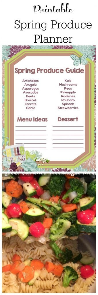 printable produce planner for spring - meal plan with seasonal fruits and vegetables.