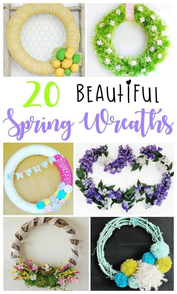 Welcome Spring with these 20 cute and easy to make DIY spring wreath ideas!