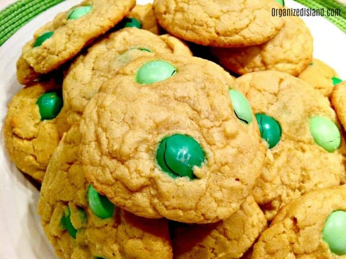 St. Patricks Day Cookies with green mint chips