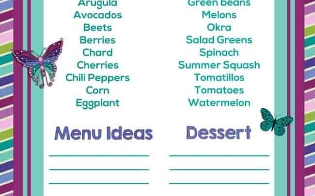 Printable summer produce guide