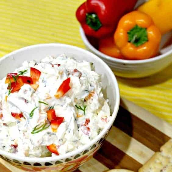 Fresh Garden Vegetable Cream Cheese Dip