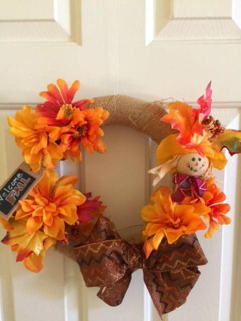 How to make a fall wreath with dollar store supplies