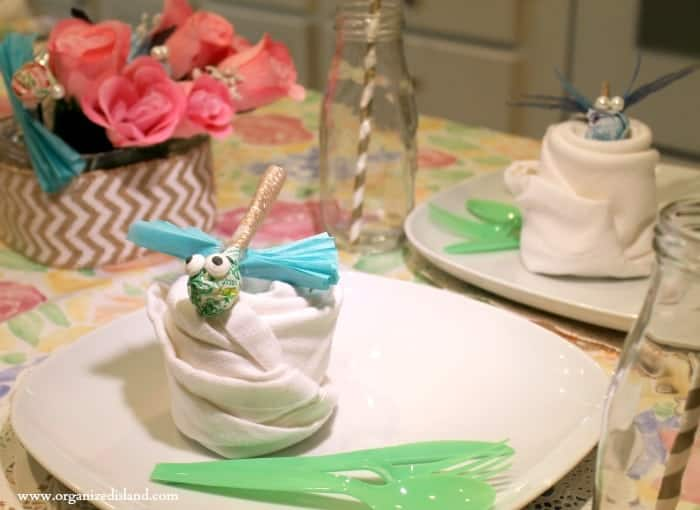 Cute spring party idea using candy as a dragonfly decoration!