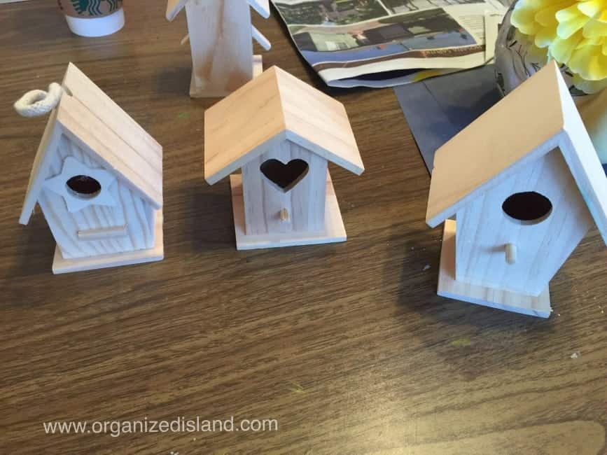 Cute craft idea using wooden bird houses , scrapbook paper and washi tape!